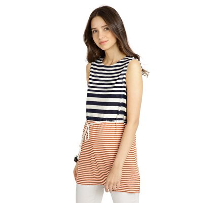 Picture of Sleeveless Long T-Shirt With Belt