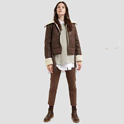 Resim Kruvaze Kürk Detaylı Palto