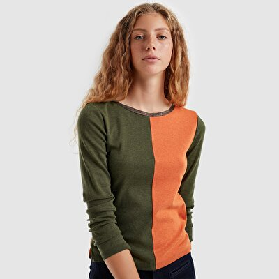 Picture of Contrast Detailed Sleeve Slited Tricot