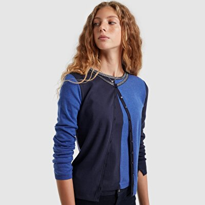 Picture of Contrast Detailed Button Front Cardigan