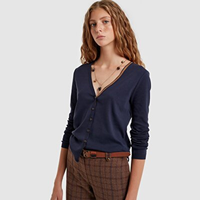 Picture of Suede Elbow Patched Cardigan