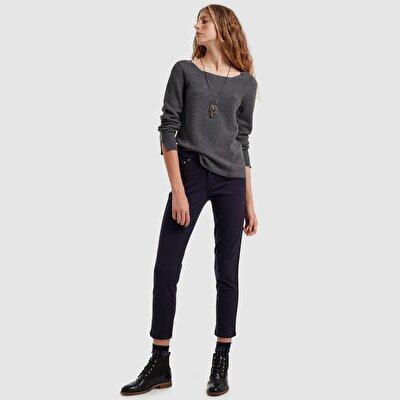 Damen Hose 5-Taschen mit seitliche Streifen