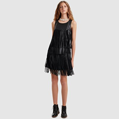 Fringed Leather Dress