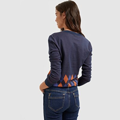 Picture of Contrast Collar Ribbed Cardigan