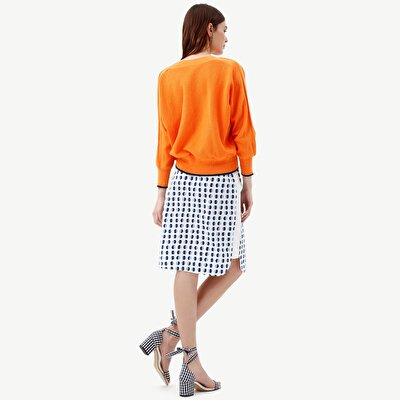 Elastic Waisted Side Stitch Detailed Skirt