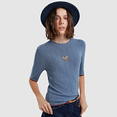 Picture of Contrast Detailed Short Sleeve Tricot
