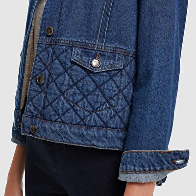 Picture of Quilted Denim Jacket With Fur Detail
