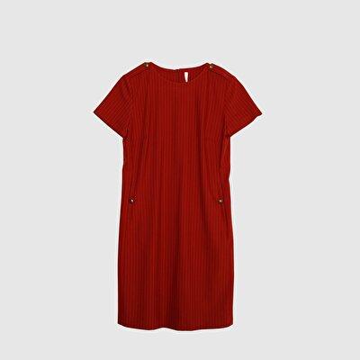 Resim Düğme Detaylı Elbise
