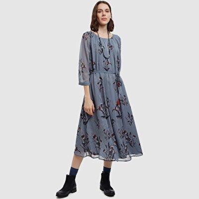 Resim Kayık Yaka Elbise
