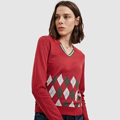 Picture of Contrast Collar Ribbed Sweater