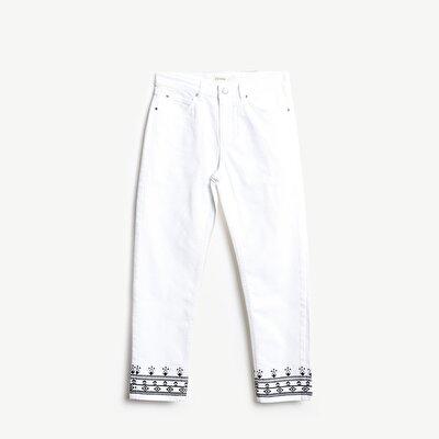 Resim Paça Detaylı 5 Cep Pantolon