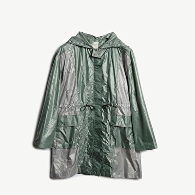 Contrast Panelled Raincoat