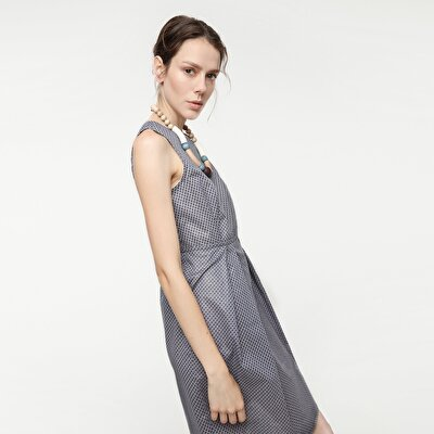 Resim Eteği Pilili Elbise