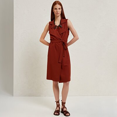 Trench Detailed Sleeveless Dress