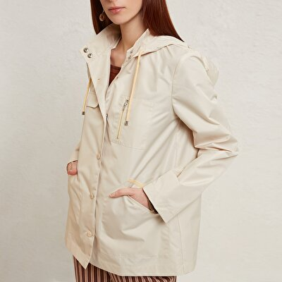 High Neck Gross Grain Detailed Raincoat