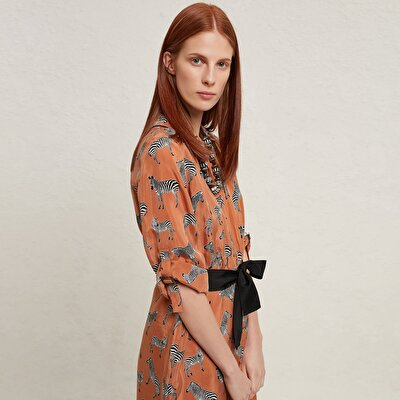 Picture of Contrast Belted Shirt Dress