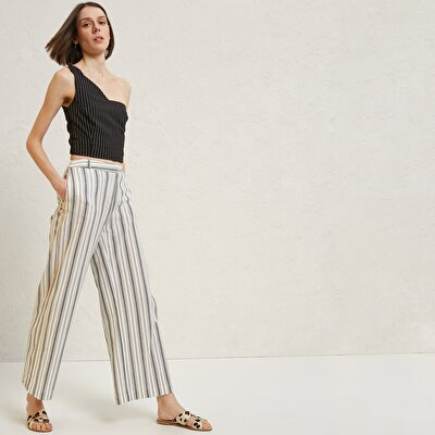 Piping Detailed Relaxed Fit Trousers