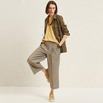 Resim Cep Detaylı Bol Paça Pantolon