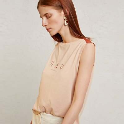 Shoulder Detailed Sleeveless T-Shirt