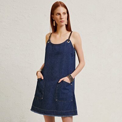 Strap Detailed Denim Dress