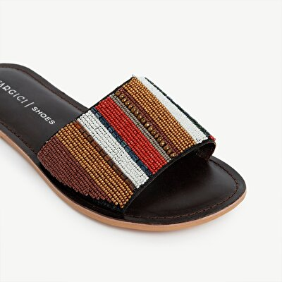 Beaded Leather Slipper