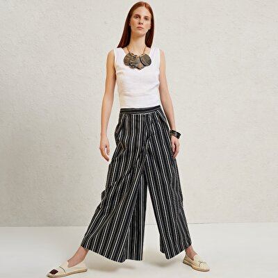 Pleat Detailed Wide Leg Trousers