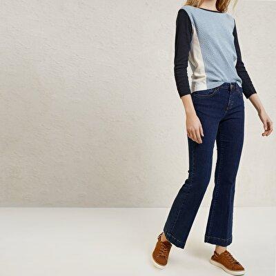 Resim Geniş Paçalı Denim Pantolon