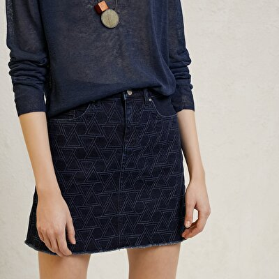 Picture of Mini Embroidered Denim Skirt