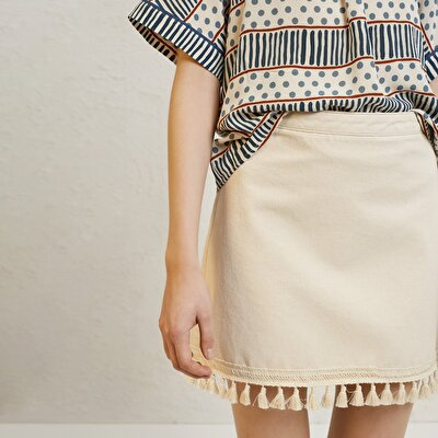 Fringe Detailed Mini Denim Skirt