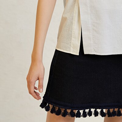 Picture of Fringe Detailed Mini Denim Skirt
