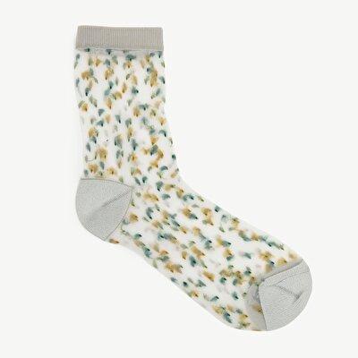 Damen Socken durchsichtig und gepunktet