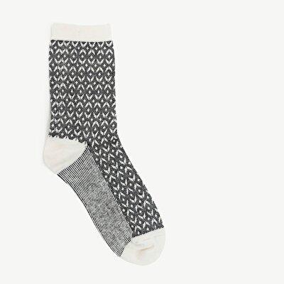 Karrierte Damen Jacquard Socken