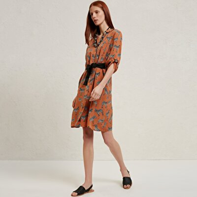Contrast Belted Shirt Dress