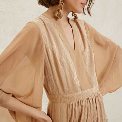 Chiffon Collar Detailed Long Dress