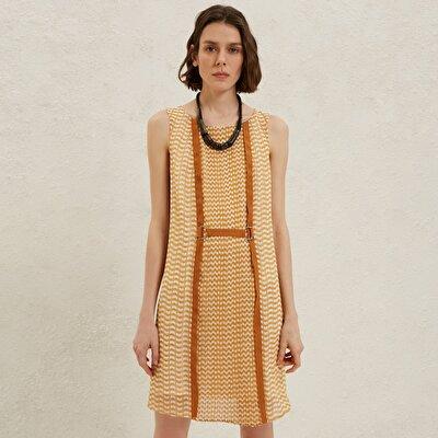 Kontrast Şeritli Elbise