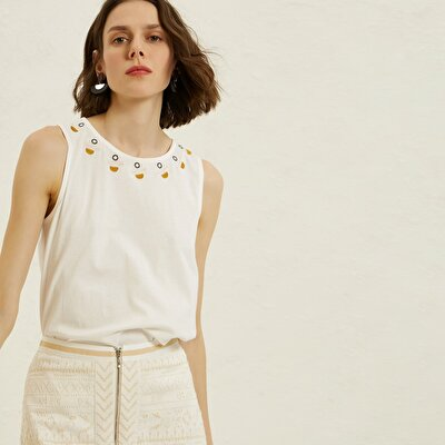 Embroidered Collar Sleeveless T-Shirt