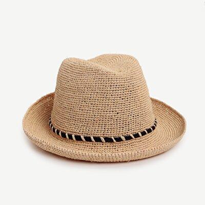 Örgü Detaylı  Fötr Şapka