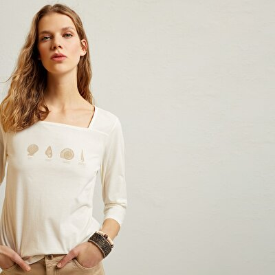 Square Neck Printed T-Shirt