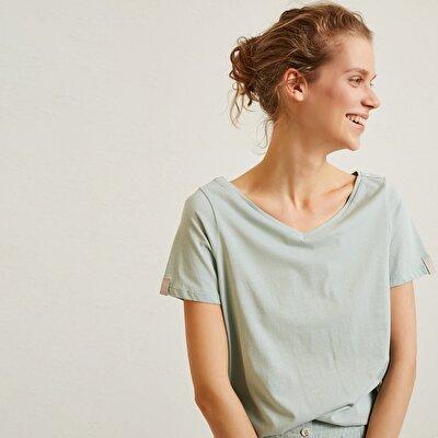Damen T-Shirt mit breitem V Ausschnitt