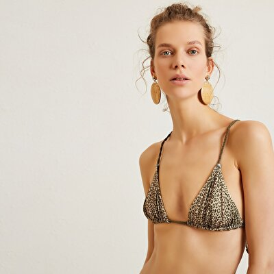 Tie Detailed Triangle Breast   Bikini Top