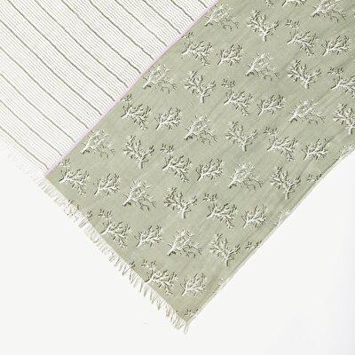 Leinen Schal gemustert