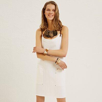 Jeanskleid mit Details an Trägern