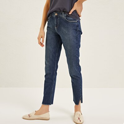 Slit Detailed Skinny Denim Trousers