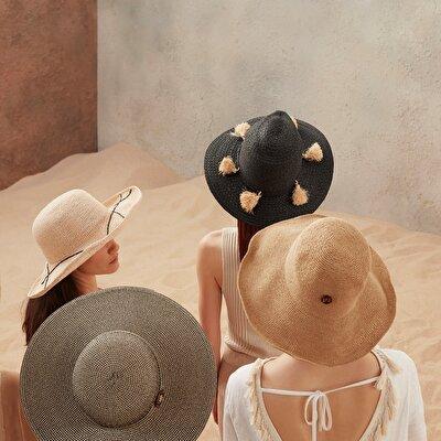 Püsküllü Hasır Şapka