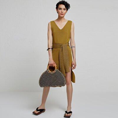 V Yaka Kolsuz Triko Elbise