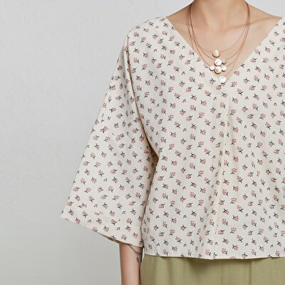 V Neck Pleat Detailed Blouse