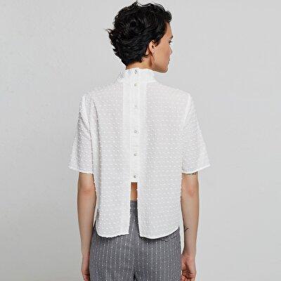 Damen kurzarm Hemd mit Rücken-Detail