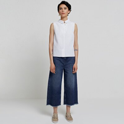 Püskül Paçalı Denım Pantolon