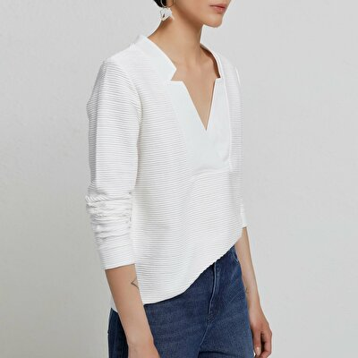 Neck Detailed Long Sleeve T-Shirt