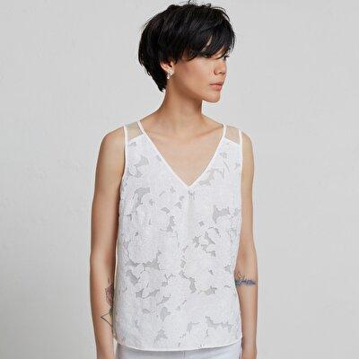 Biye Detaylı V Yaka Bluz